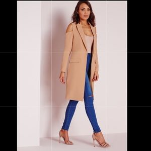 Missguided long nude/ tan coat NWT